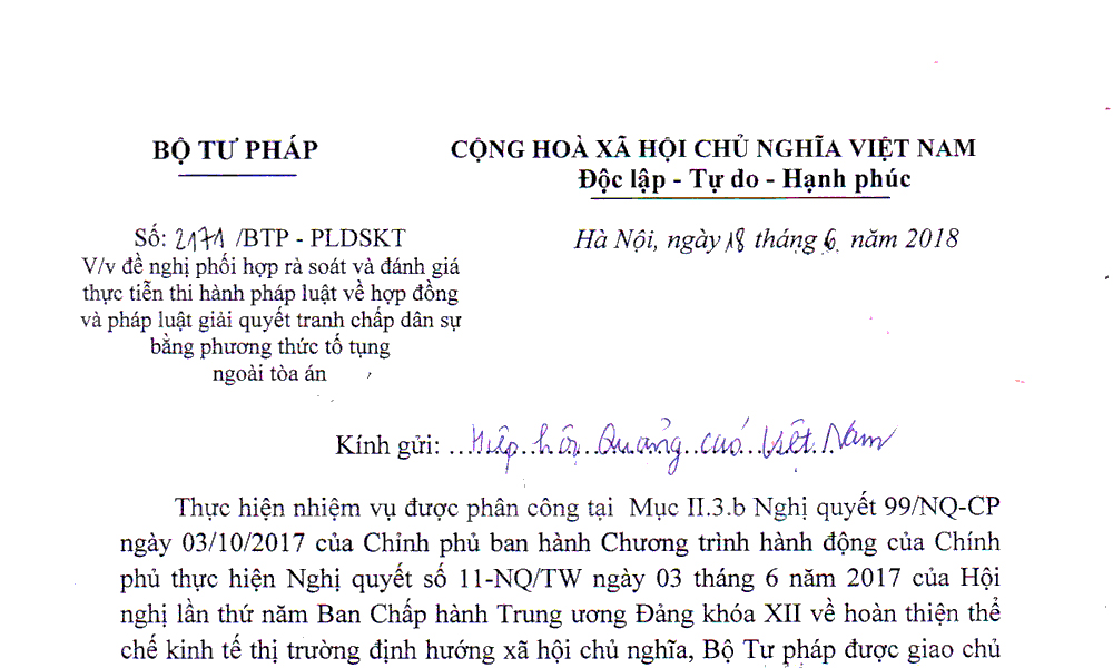 Thông báo với hội viên HHQC về công văn số 2171/BTP - PLDSKT của...