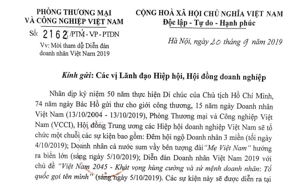 Thư mời hội viên VAA đến tham dự Diễn đàn doanh nhân Việt Nam...