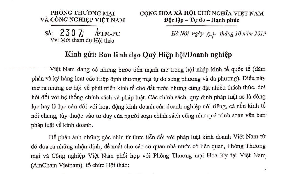 """Thư mời hội viên VAA tham dự Hội thảo """"Pháp luật Việt Nam đã..."""