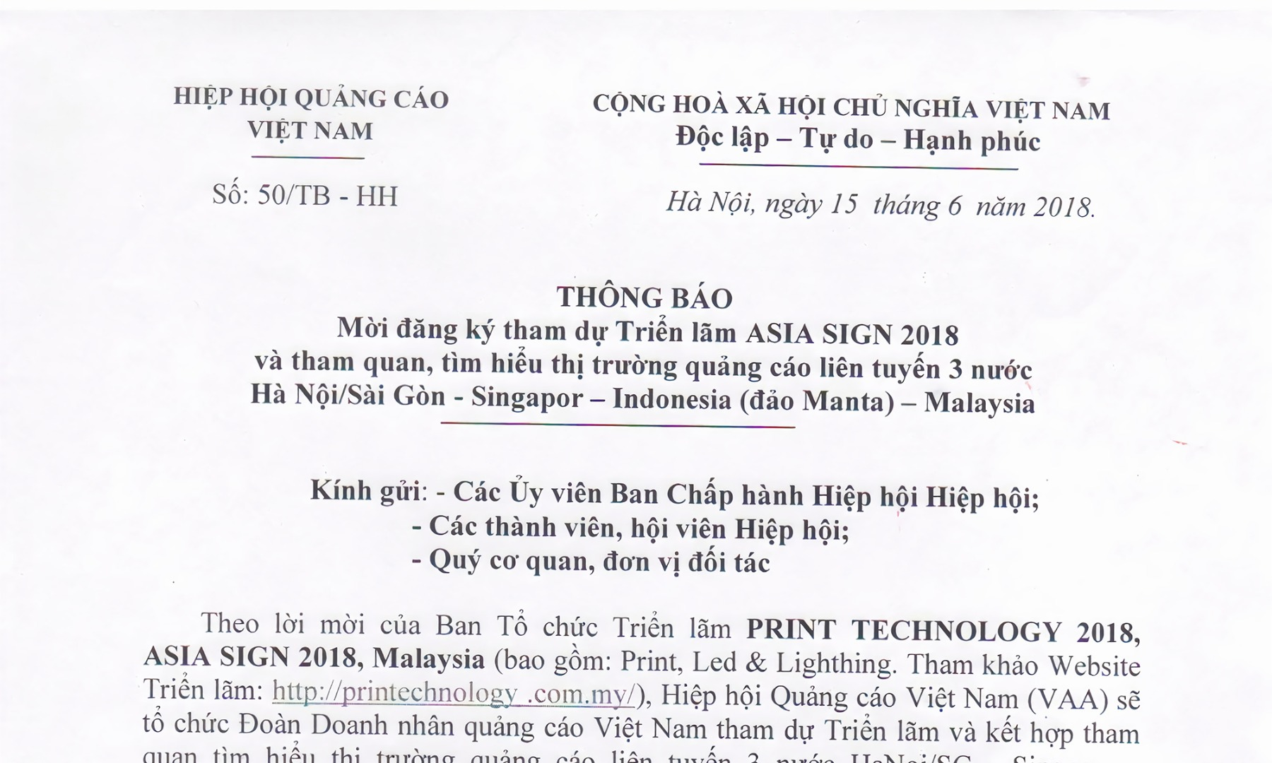 Thư mời hội viên hiệp hội quảng cáo Việt Nam tham dự triển lãm ASIA SIGN 2018