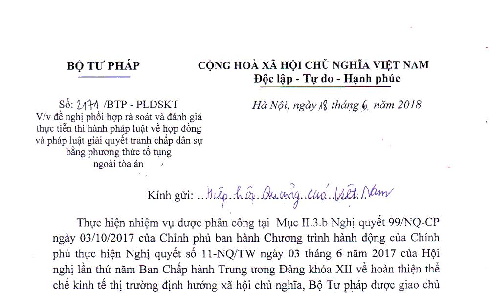 Thông báo với hội viên HHQC về công văn số 2171/BTP - PLDSKT của Bộ Tư Pháp