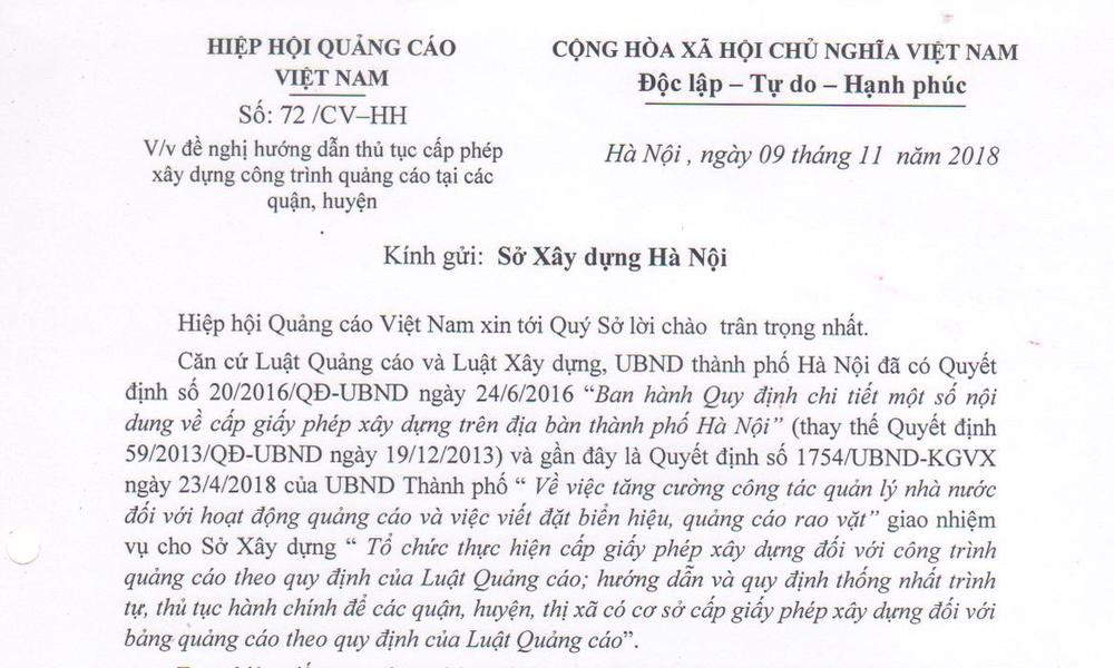 Thông báo về công văn số 72/CV-HH của VAA gửi lên Sở Xây dựng Hà Nội