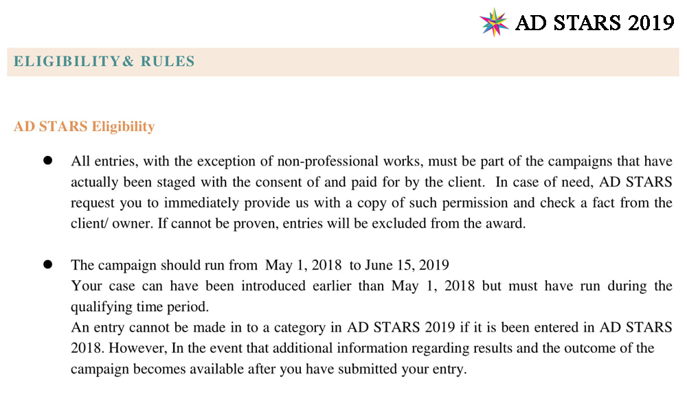 AD STARS 2019 Entries are Opened & Free