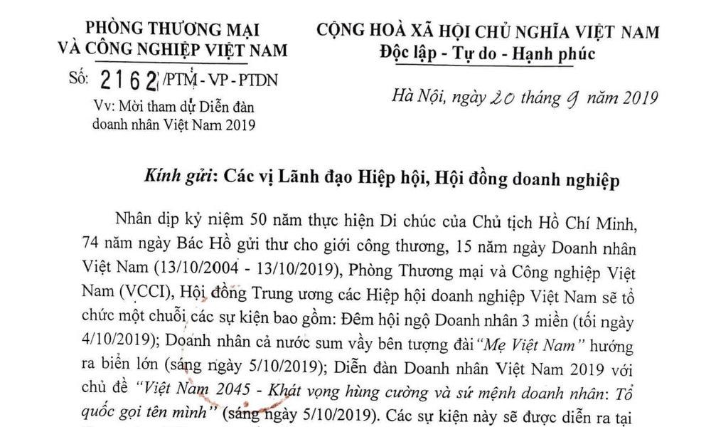 Thư mời hội viên VAA đến tham dự Diễn đàn doanh nhân Việt Nam 2019