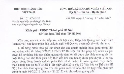 Kiến nghị của VAA gửi UBND TP Hà Nội về việc tháo gỡ khó khăn cho hoạt động quảng cáo tại Hà Nội