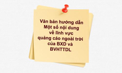 Văn bản giải đáp vướng mắc về những khó khăn trong lĩnh vực quảng cáo ngoài trời của BXD và BVHTT-DL