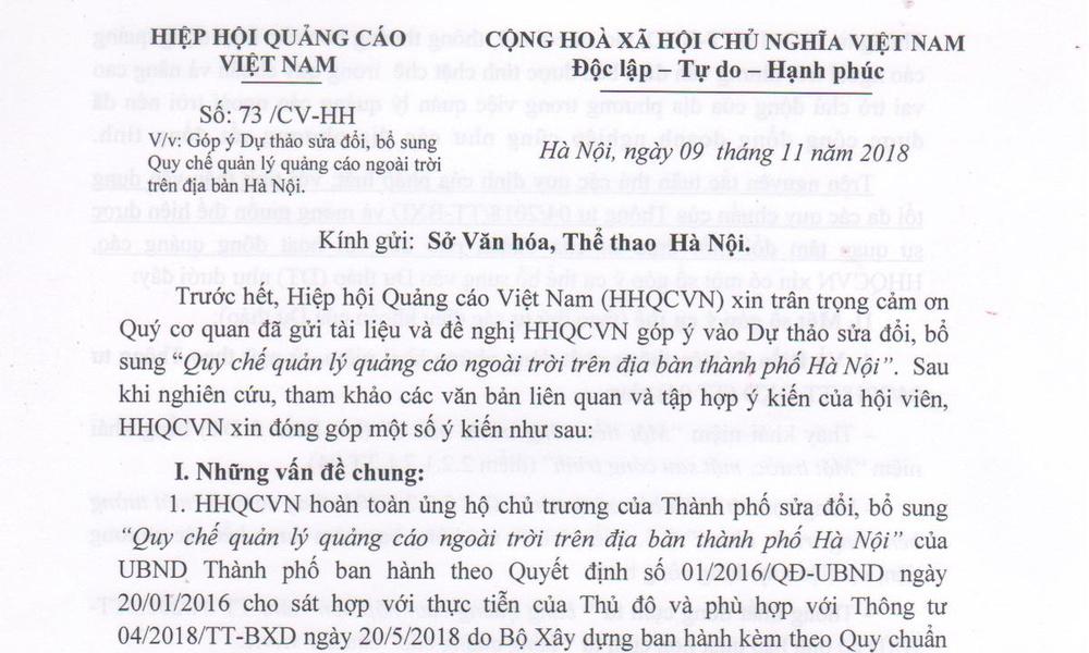 Thông báo về công văn số 73/CV-HH của VAA gửi lên Sở Văn hoá, Thể thao Hà Nội