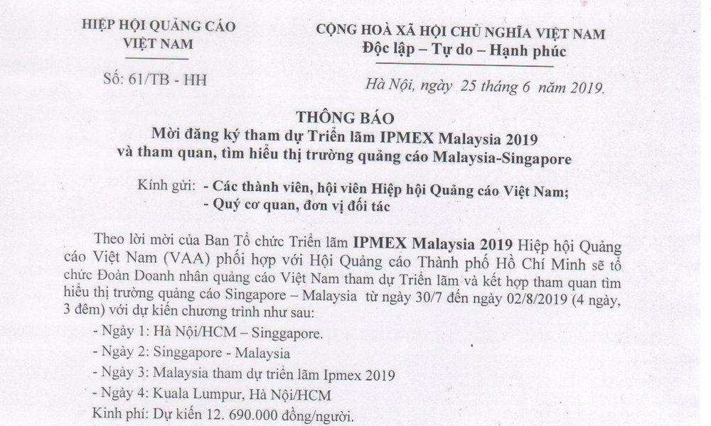 Thư mời hội viên hiệp hội quảng cáo Việt Nam tham dự triển lãm IPMEX Malaysia 2019