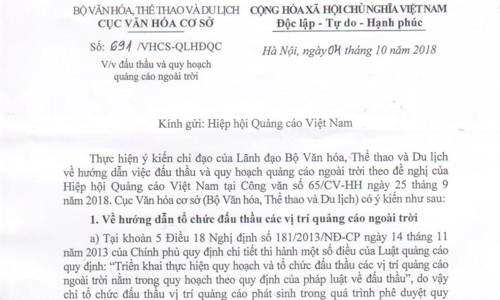 Thông báo về phản hồi của Cục Văn hoá cơ sở đối với Công văn số 65/CV-HH của VAA