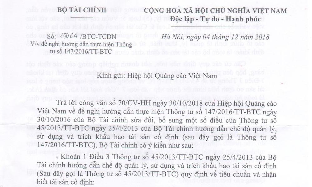 Thông báo về phản hồi của Bộ Tài Chính đối với Công văn số 70/CV-HH của VAA